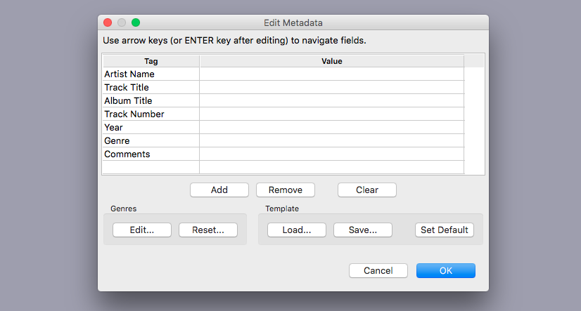 Audacity prompts the user to enter metadata upon export