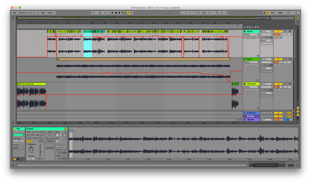 Editing the audio file in Ableton Live