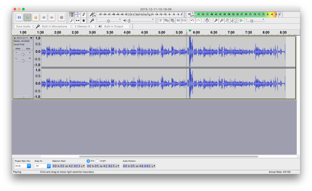 It's important to avoid loud peaks that might distort your final audio file
