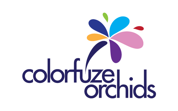 Consumer product logo for live orchids that are infused with a special dye that transforms the colors of the orchids.