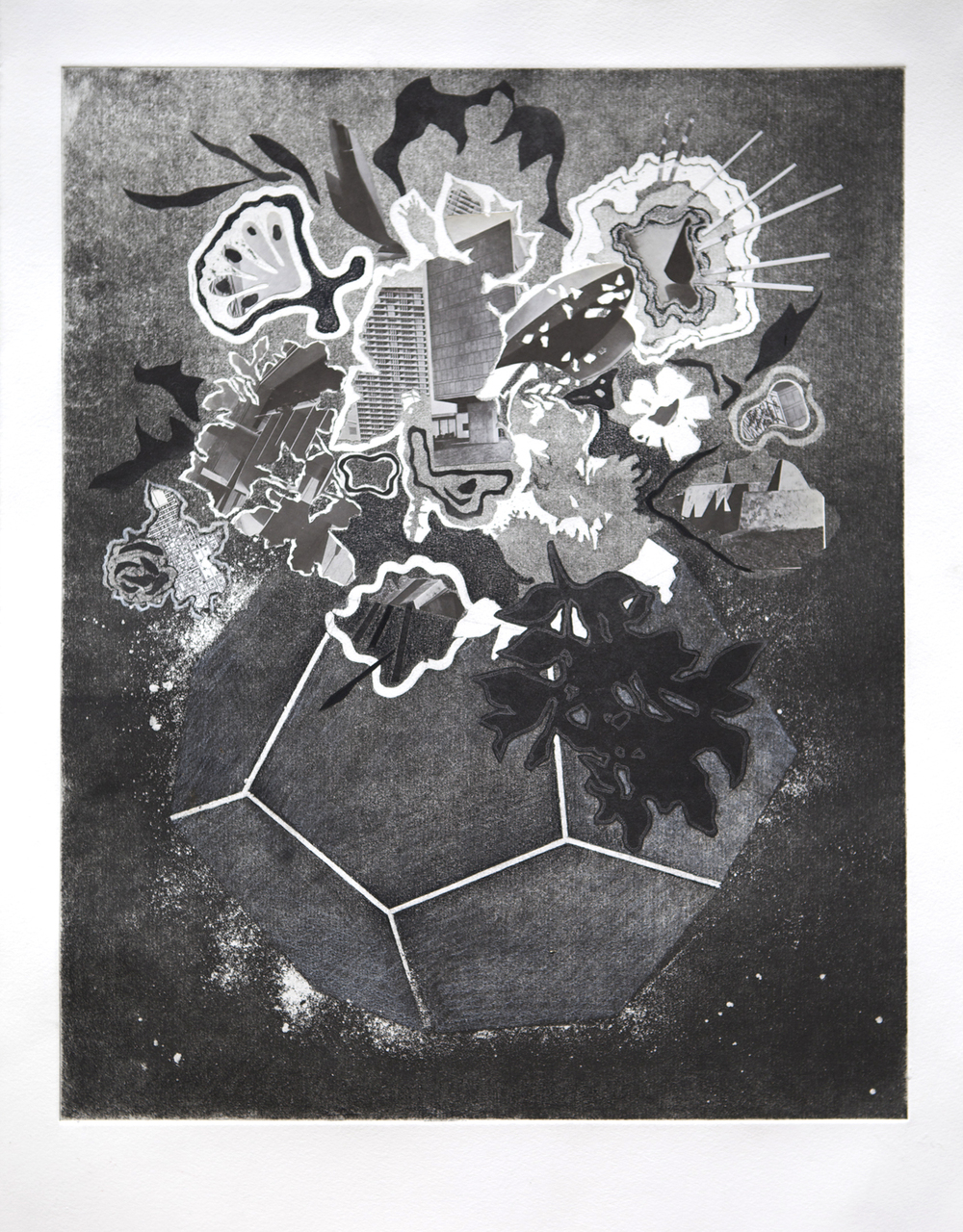 Composition #1124(2014),Intaglio, collage and wax pencil on paper,Image 15 3/4 x19 3/4 in., sheet 24 x 20 in.