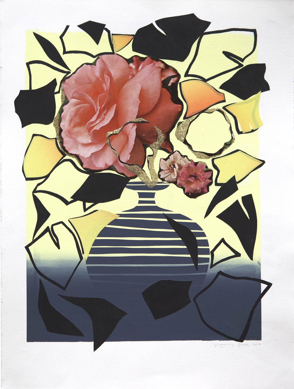 Composition Rose  (2014), Screen print, collage and glitter, 20 x 15 in.
