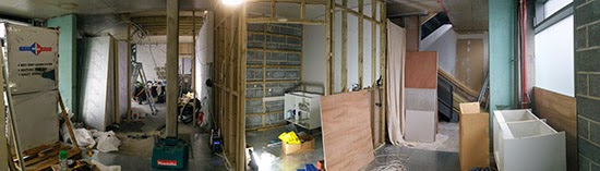 Here's a view of the downstairs space. In the middle will be the bathroom whilst the kitchen will be to the right.