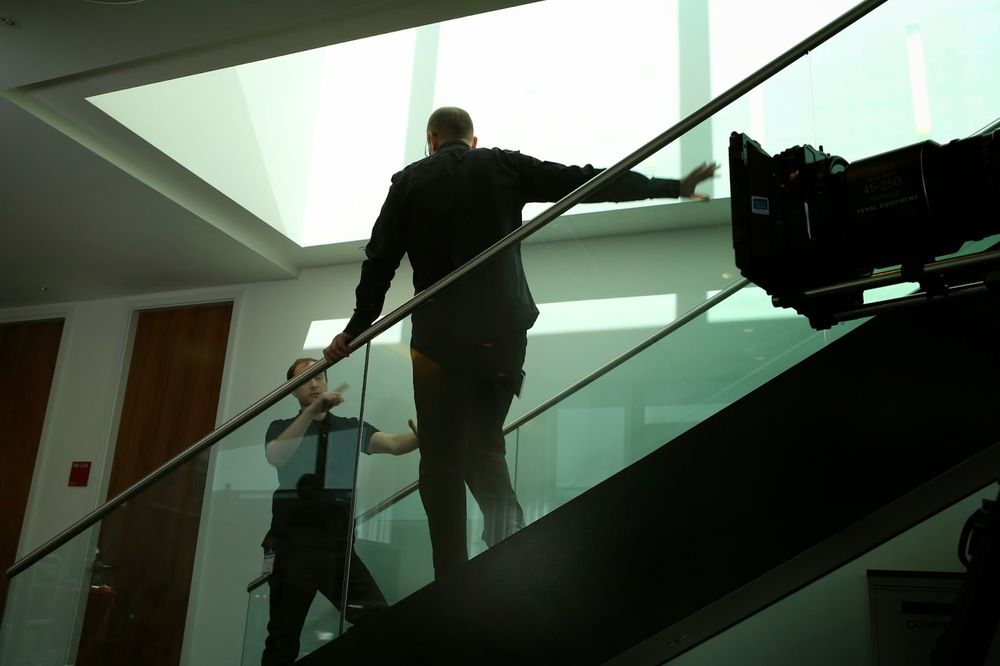 The production involved a lot of going up and down stairs, both on and off camera.