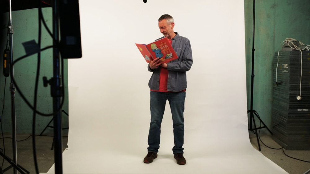 Michael Rosen reading from 'A Great Big Cuddle' in the FLETCHERWILSON studio.