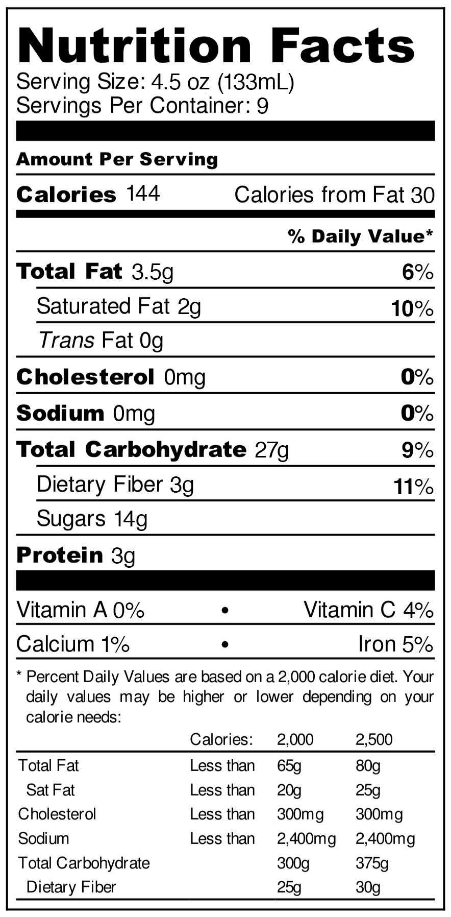 Ingredients: Organic Apples, Gluten Free Steel-cut Oats, Organic Bananas, Organic Raw Honey, Organic Cane Sugar, Organic Coconut Oil, Organic Cinnamon, Purified Water