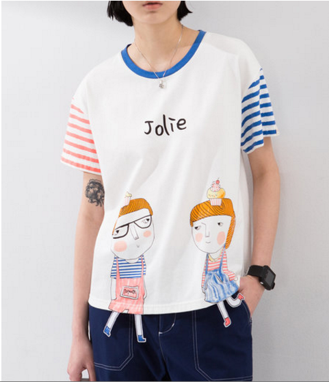 Cartoon Paneled Stripes Shirt