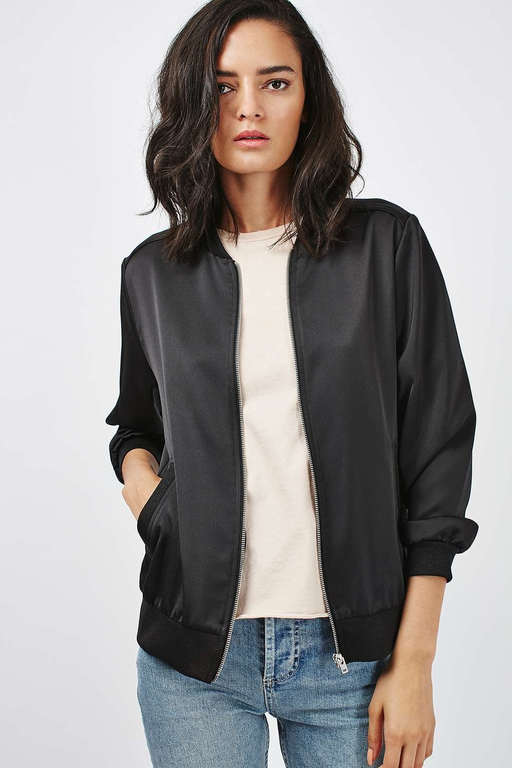 Mmm Satiny Bomber Jacket Goodness From Your Neighborhood Topshop