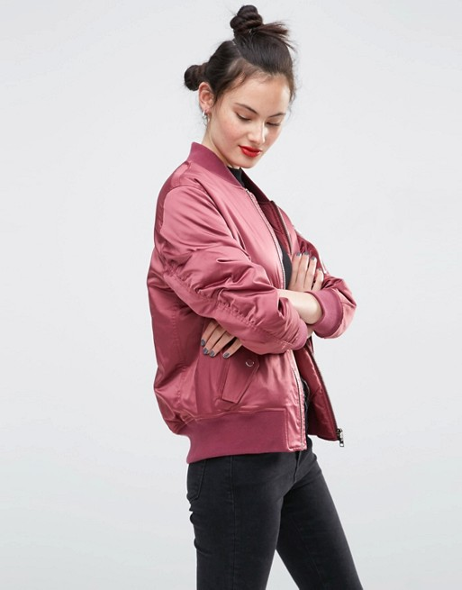 Pick Ducky in this Pink Bomber Jacket from ASOS