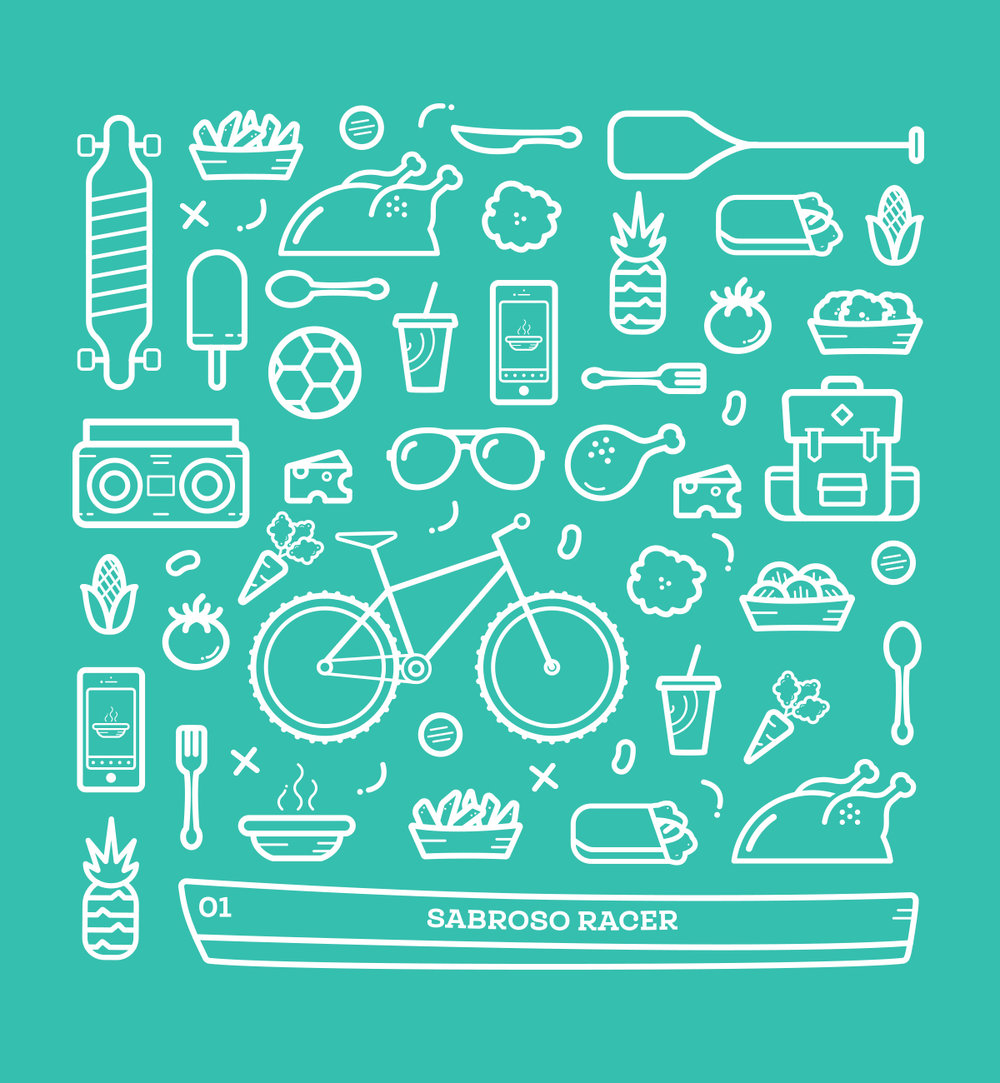 An assortment of food and lifestyle icons to use in posters, packaging, and other branded merchandise. -
