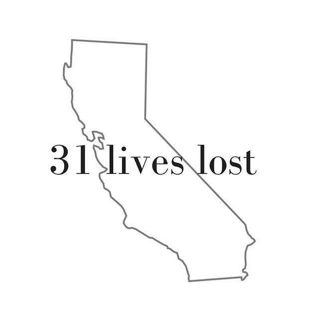 """My heart breaks for the 31 people (and their families) who have lost their lives to the fires in California, breaking a state record. Praying there won't be any more casualties. If you pray, please lift up these families in your thoughts and prayers tonight ♥️ . . . For more information, listen to today's """"NYT The Daily"""" podcast. Also, The Red Cross, California Fire Foundation and others are taking donations right now."""