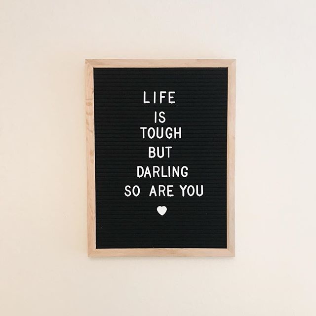 With my new letter board, anything is possible ✨ . We (yes, you too, missy) have some big goals this 2019. And let's not fool ourselves here: reaching those goals won't happen overnight. It's going to be tough, we will be asked to step up, show up, speak up. It's gonna be fun and spicy and creative and stretching. . I like the challenge and the sauciness of this quote, because you know what? Life IS tough, and darling SO ARE YOU! . Bring it 2019! 🎉✨