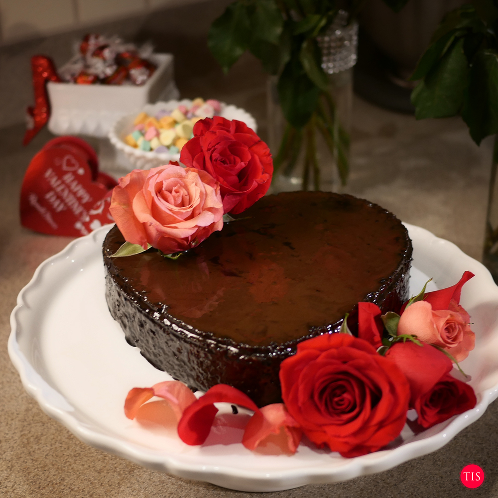 Jennifer Maring's Chocolate glazed cherry Nut cake for valentines day