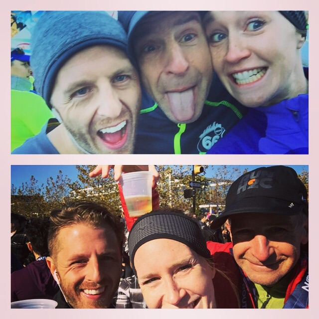 Before (top) - Waiting in our coral for the race to begin looking cold but excited. After (below) it was all over with celebratory beers in the sunshine courtesy of the Route 66 race sponsors. Cheap beer never tasted so good! Family bonding pre and post run.