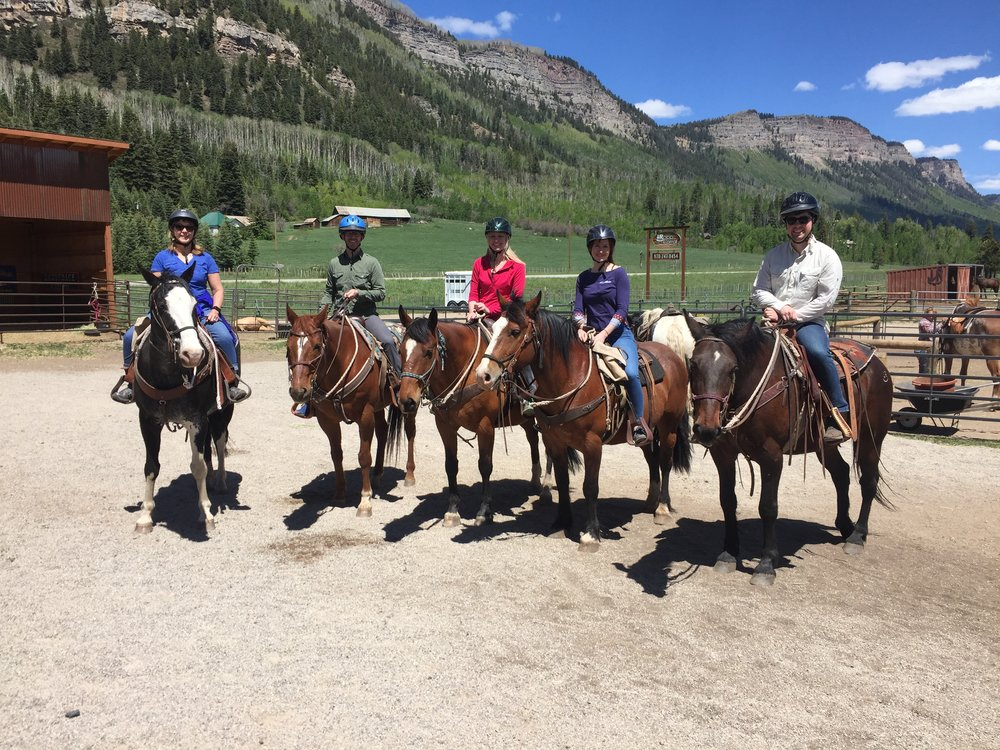 I'm riding Tank. My brother (first on the right) is riding a celebrity horse that was used in  The Lone Ranger, starring Johnny Depp.