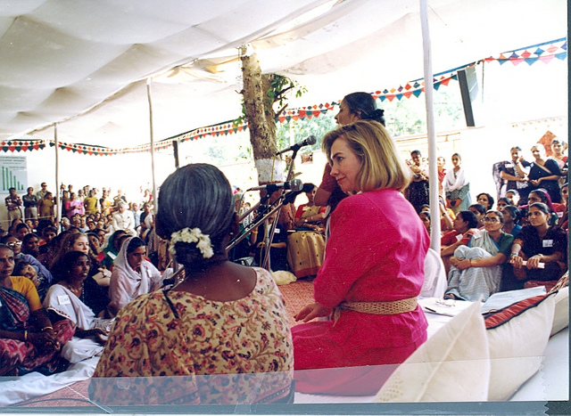 First Lady Hillary Clinton meeting with women in India in 1995