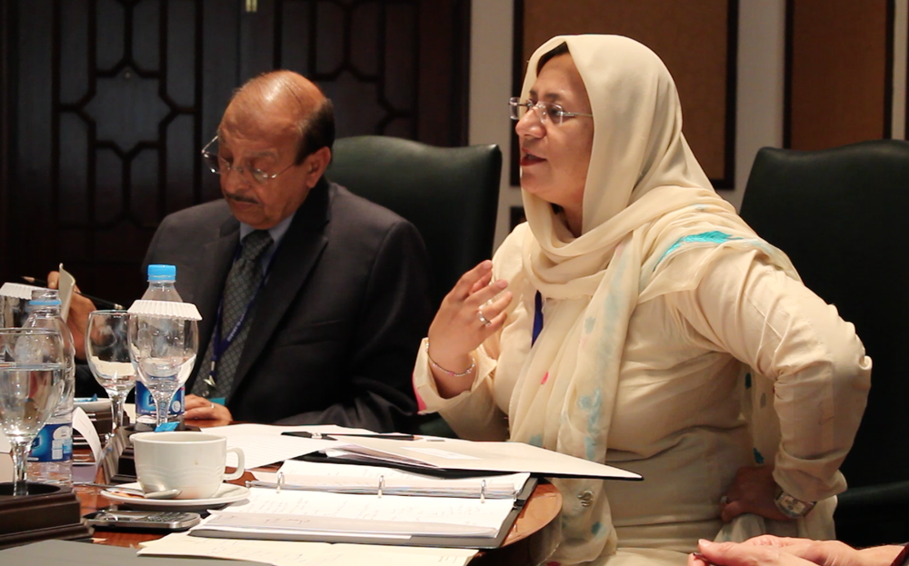 Dr. Munazza Yaqoob (right) and Dr. Mumtaz Ahmad seated beside her