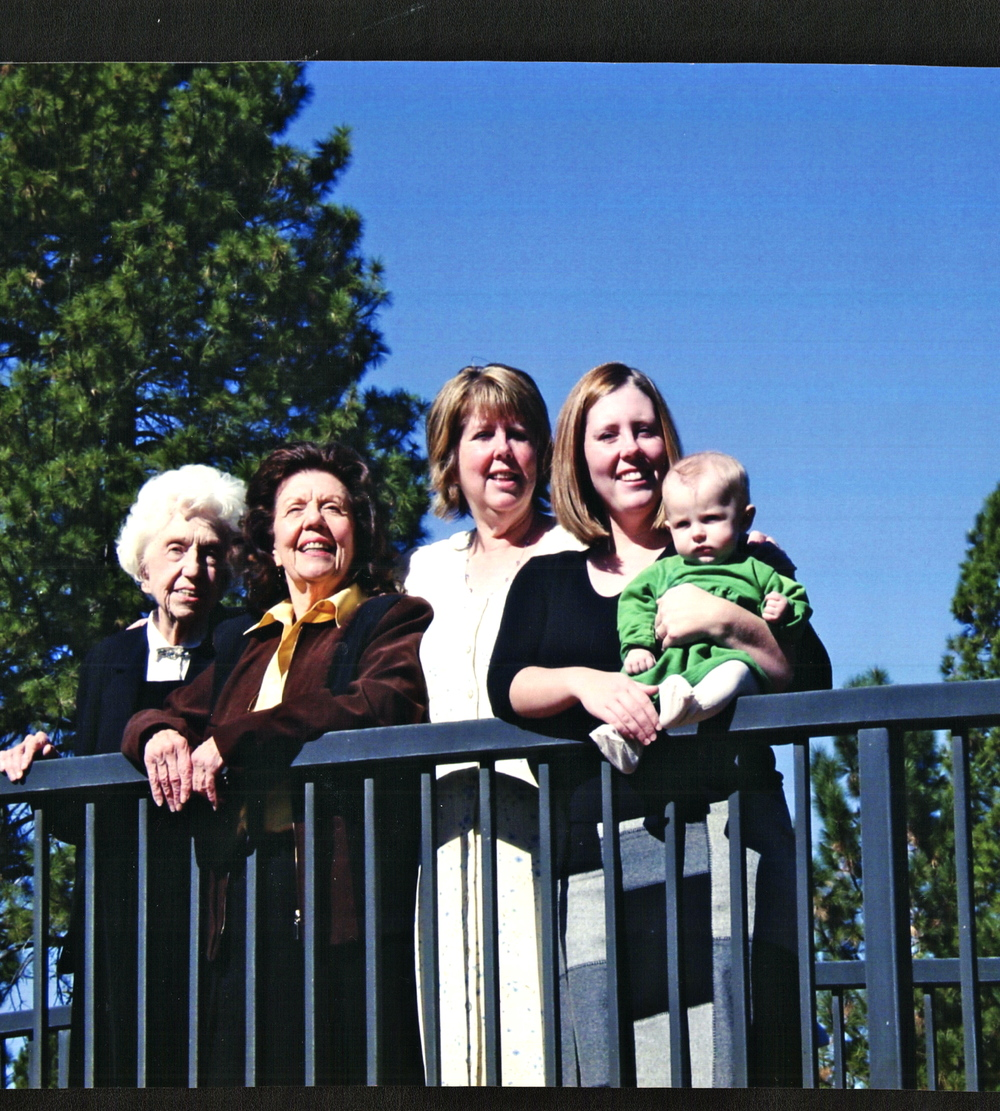 These are my five generations. My great-grandmother lived to be 104, dying in October 2012, three months after The Roots of the Olive Tree was published. My grandmother, mother, and daughter continue to be amazing.