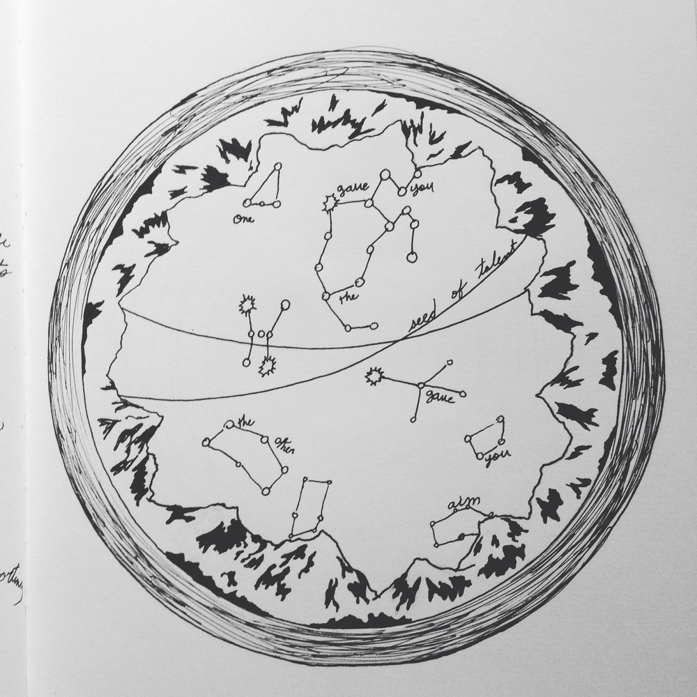 Sketch of glass engraving