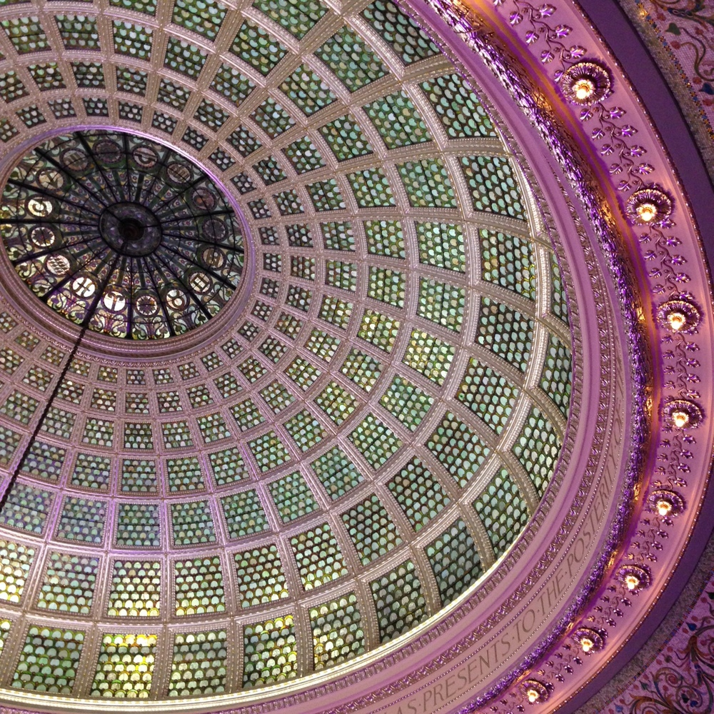 The largest Tiffany dome in the world at the Chicago Cultural Center completed in 1897 and restored in 2008.