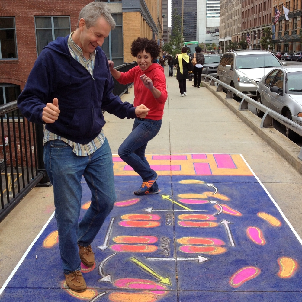 Hamilton during   Dance Spot  , 2012. An interactive public art experience that transformed the sidewalks of Fort Point, Boston into dance floors. Photo: Jessie Schanzle