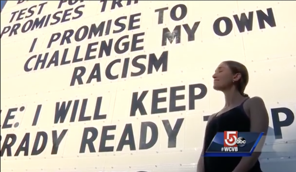 Alli Ross of Somerville with her promise.