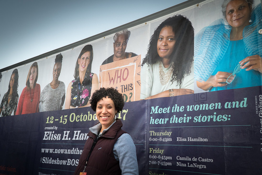 Elisa H. Hamilton in front of the  Slideshow  shipping container space at HUBWeek.