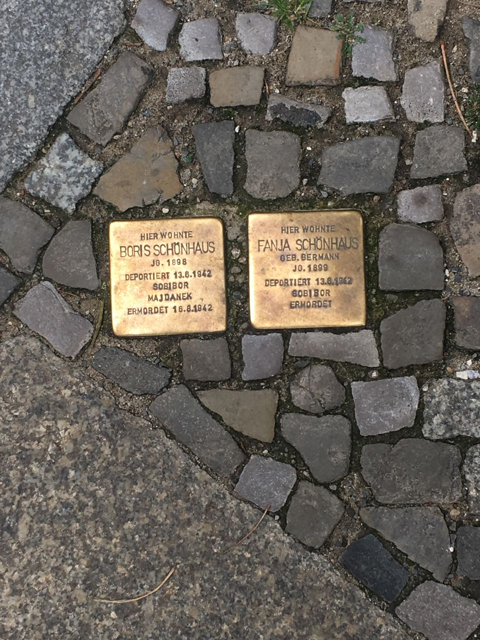 "Two of the 61,000 Solperstein, or ""stumbling stones"" by Gunter Demnig"