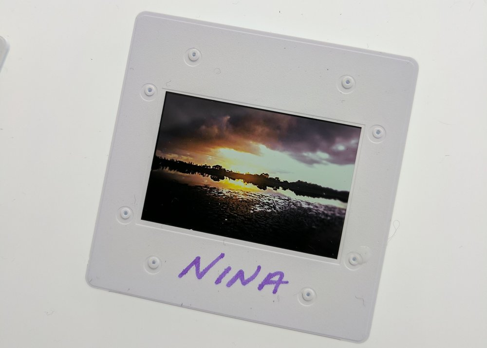 A slide with an image from Nina's collection.