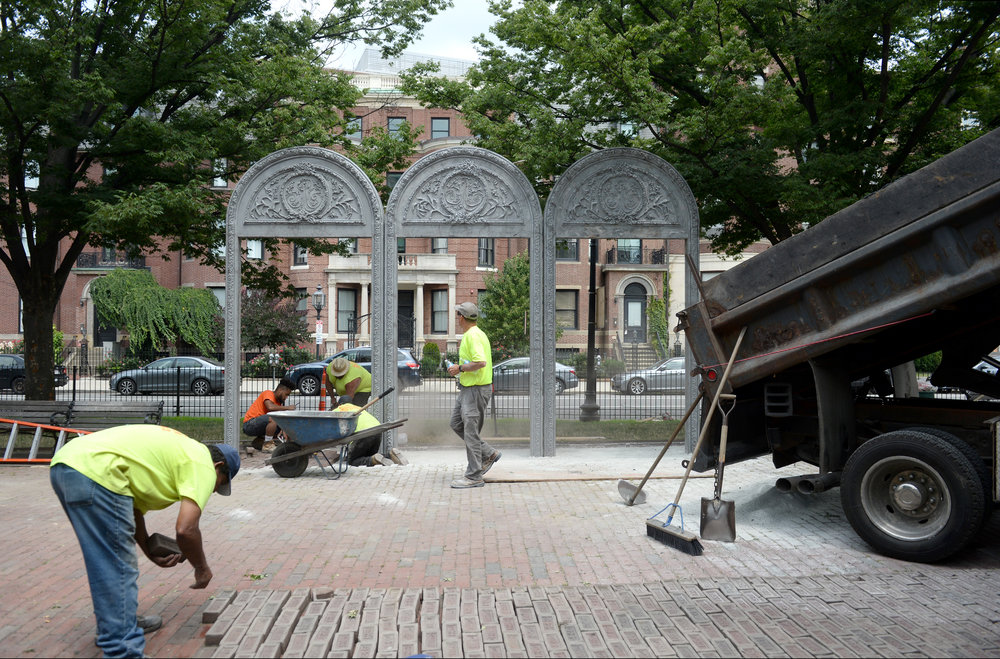 Installation of the arches on Commonwealth Ave Mall, near MBTA Kenmore bus station, July 18, 2018.