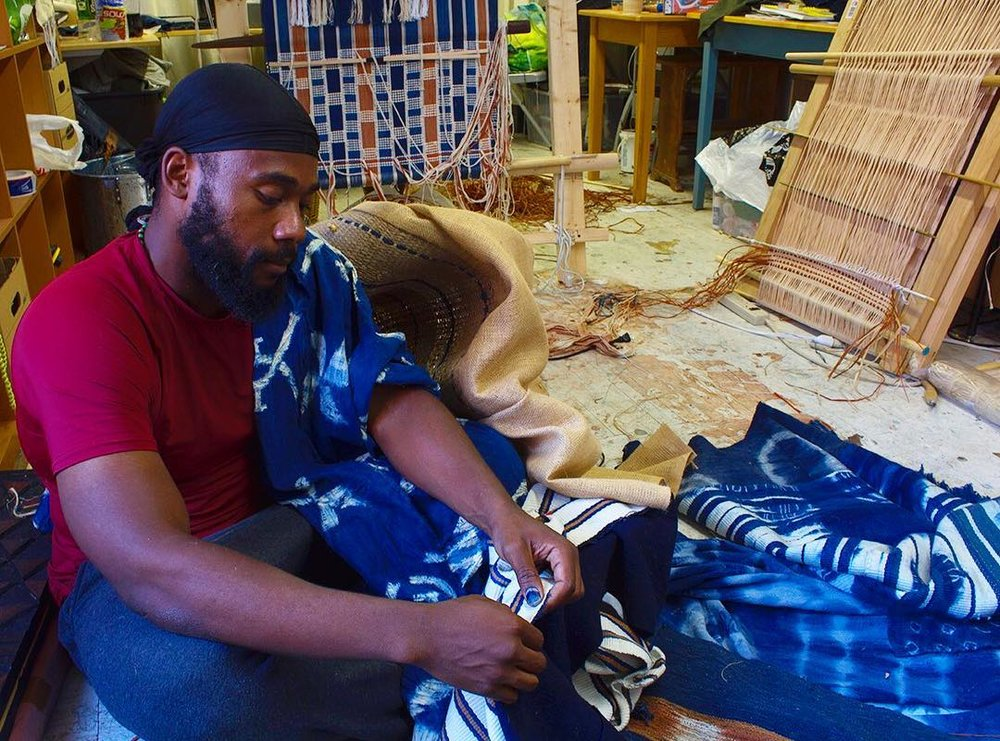 """Stephen Hamilton fabricating traditional west African textiles for his N+T Accelerator project """"The Founder's Project"""""""