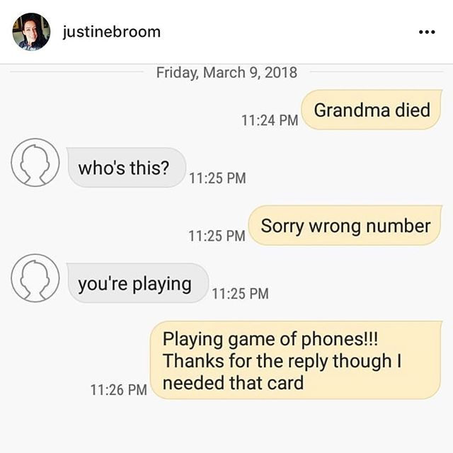 RIP grandma #textarandomnumber . . . #gameofphones #cardgames #tabletop #boardgames #gaming #game #games #phone #phones #mobile #socialmedia #card #cards #screenshot #iphone #android #party #partygame #fun #bored #text #message #random #play #playing #grandma