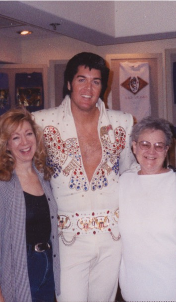 "Mom and me with Las Vegas Elvis in his ""hot"" years!"