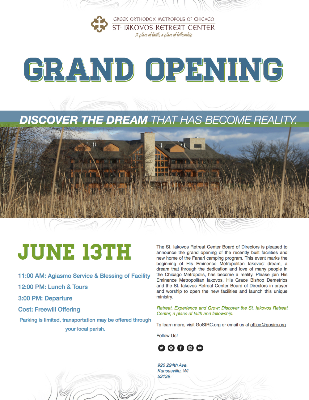 2015 SIRC Grand Opening New facilities Invitation