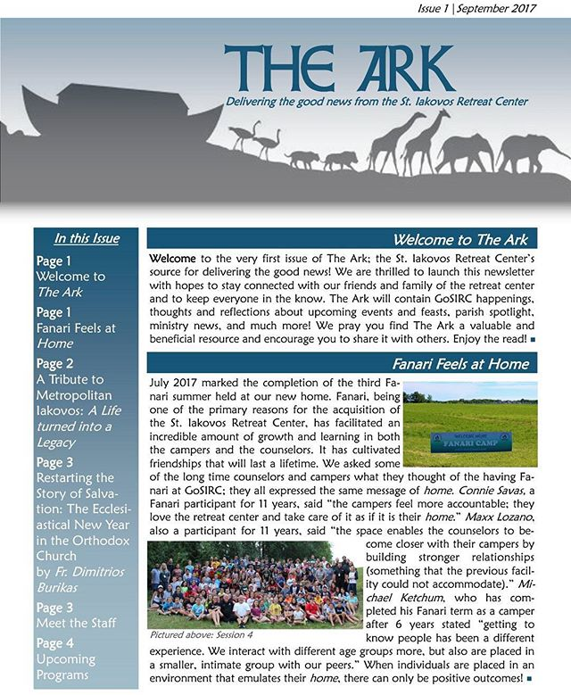 Fresh off the press!!! The first issue of The Ark, the official newsletter of the St. Iakovos Retreat Center, has been released! The link is on our bio and on our website. #HappyFriday #Discover #GoSIRC
