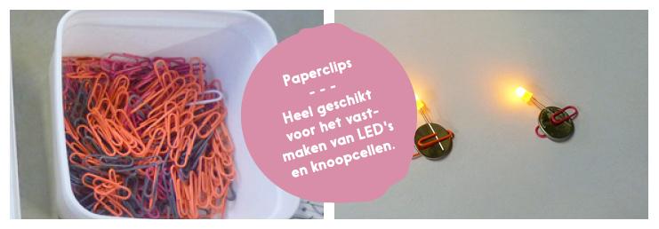 PAPERCLIPS EN ELASTIEKJES: heel geschikt voor het vastmaken van LED's en knoopcelbatterijen.