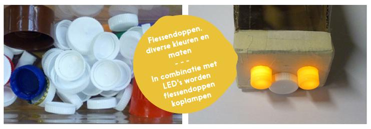 FLESSENDOPPEN: in diverse kleuren en maten. In combinatie met LED's worden ze koplampen.