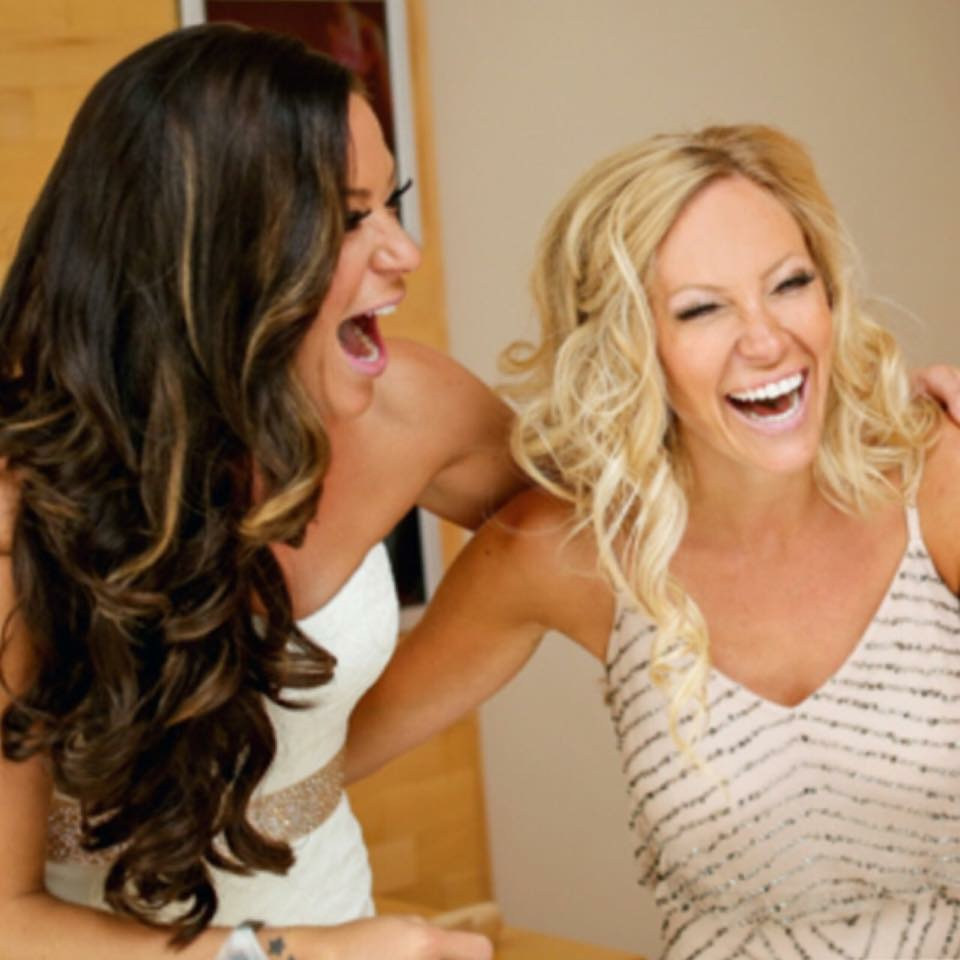 My sister and I getting ready together before her wedding!  I love how real she is, we always have so much fun together!