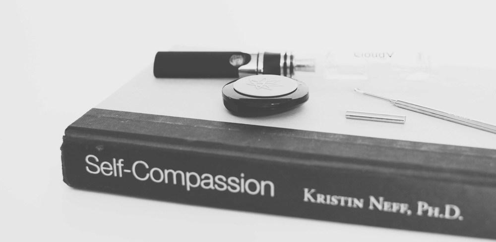 Self Compassion:   Self Compassion by Kristin Neff  /  420 Science Concentrate Container  /  CloudV Capped Dabber  / CloudV Platinum Essential Oil Vaporizer  +    Aqua Bubbler Attachment