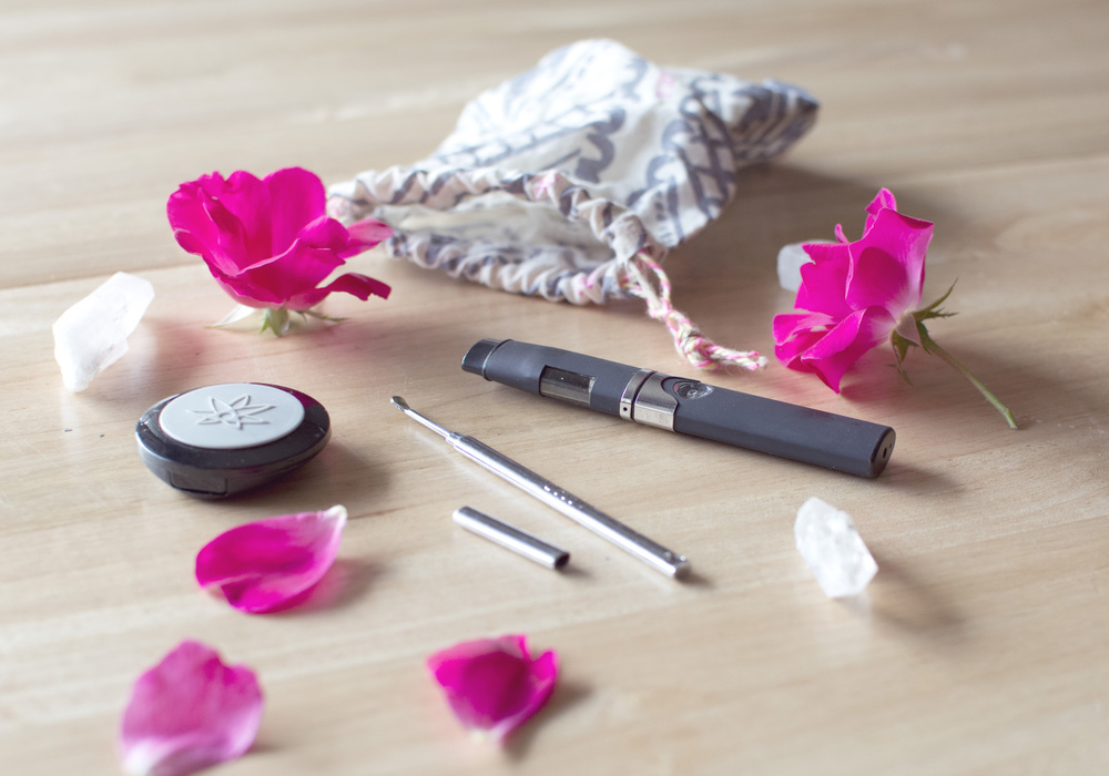 Traveling Meditation:   Earthbound Crystals  /  420 Science Concentrate Container  /  CloudV Capped Dabber   /  CloudV Platinum Essential Oil Vaporizer /  Free People Jewelry Bag