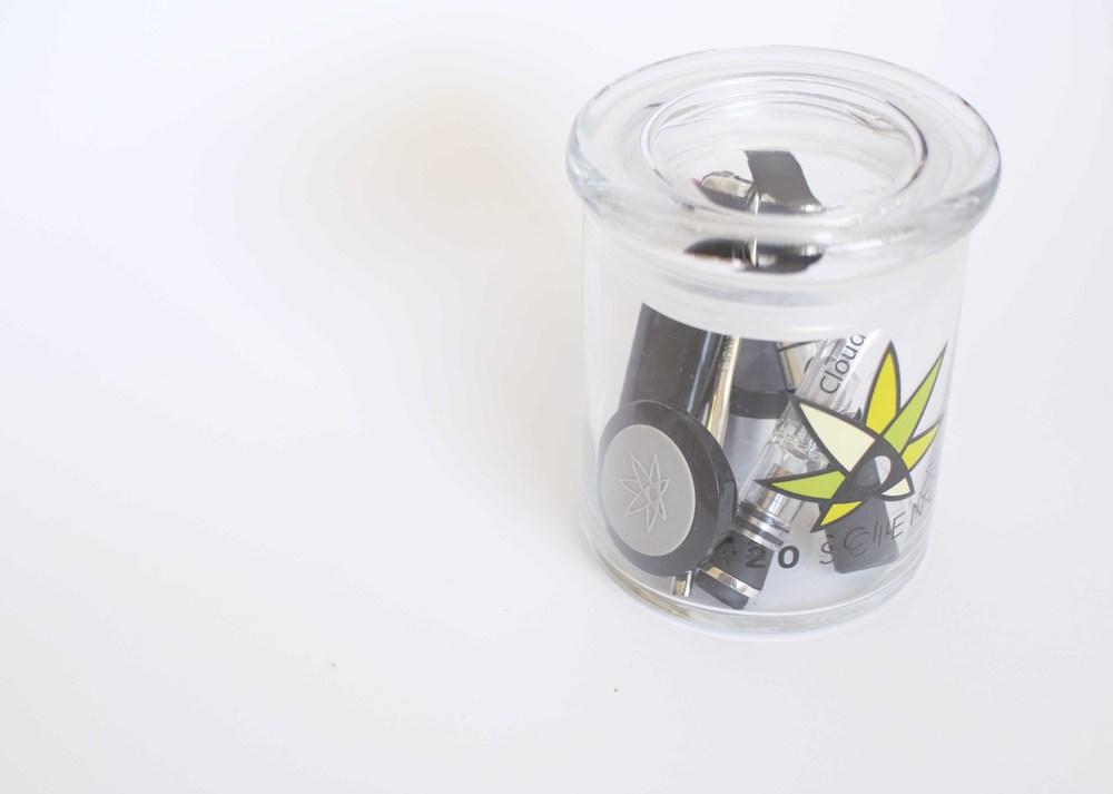 Stash Transportation:   420 Science Jar  /  420 Science Concentrate Container  / CloudV Platinum Essential Oil Vaporizer  /    Aqua Bubbler Attachment