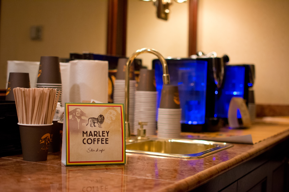 Marley Coffee station in the suite