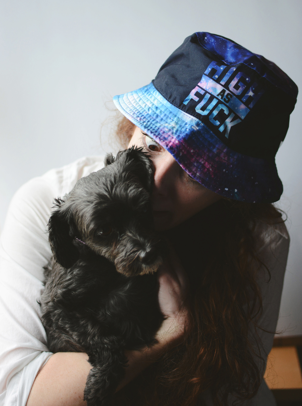 Oh and I took a few photos in the hat too...couldn't resist pulling my yorkipoo, Gracie, into the photo with me! I was excited; she wasn't so sure.