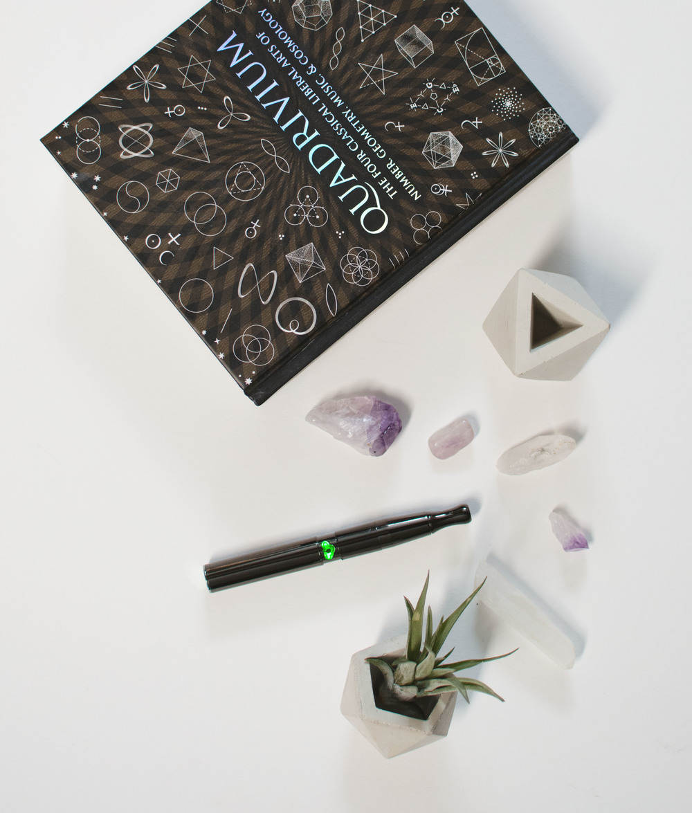 Puffco Concentrate Vaporizer / Concrete Geometric Planters / Air Plant by AirPlantSupplyCo.com / Amethyst by Friends NYC / Quartz Crystals by Earthbound / Quadrivium book
