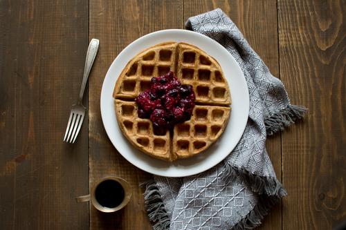 Waffles + Fresh Fruit Topping