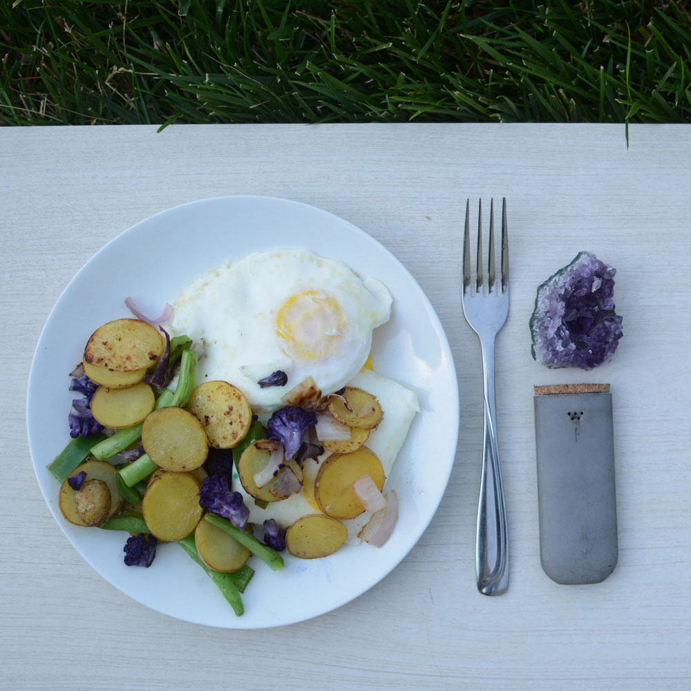Purple cauliflower, new potatoes, green beans, yellow onion, salt, pepper  (pictured with  Urb  pipe and amethyst crystal)