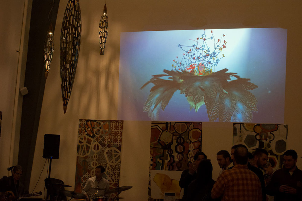I really enjoyed the projector screen in the gallery space; it added a whole other dimension to the experience