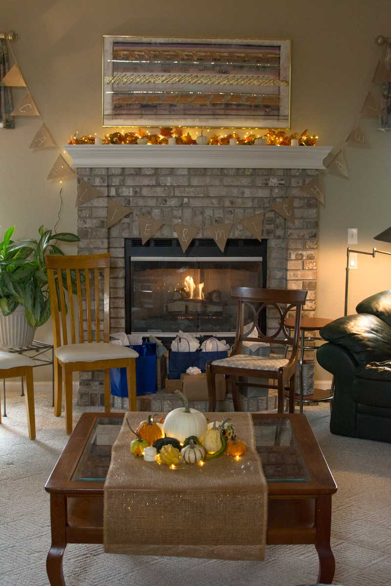 Gifts were displayed on the fireplace — with a real fire!