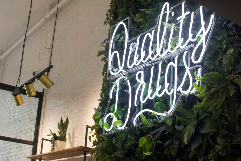 "The ""Quality Drugs"" sign, infamous on social media"