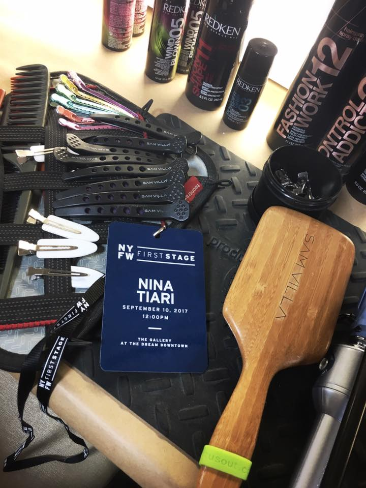 backstage set up with hair styling essentials